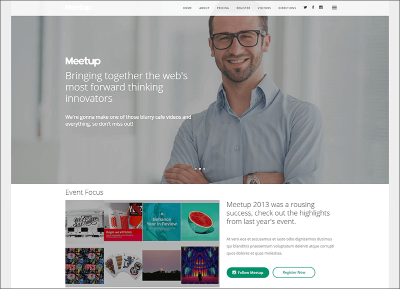 Conference & Event Landing Page With Page Builder