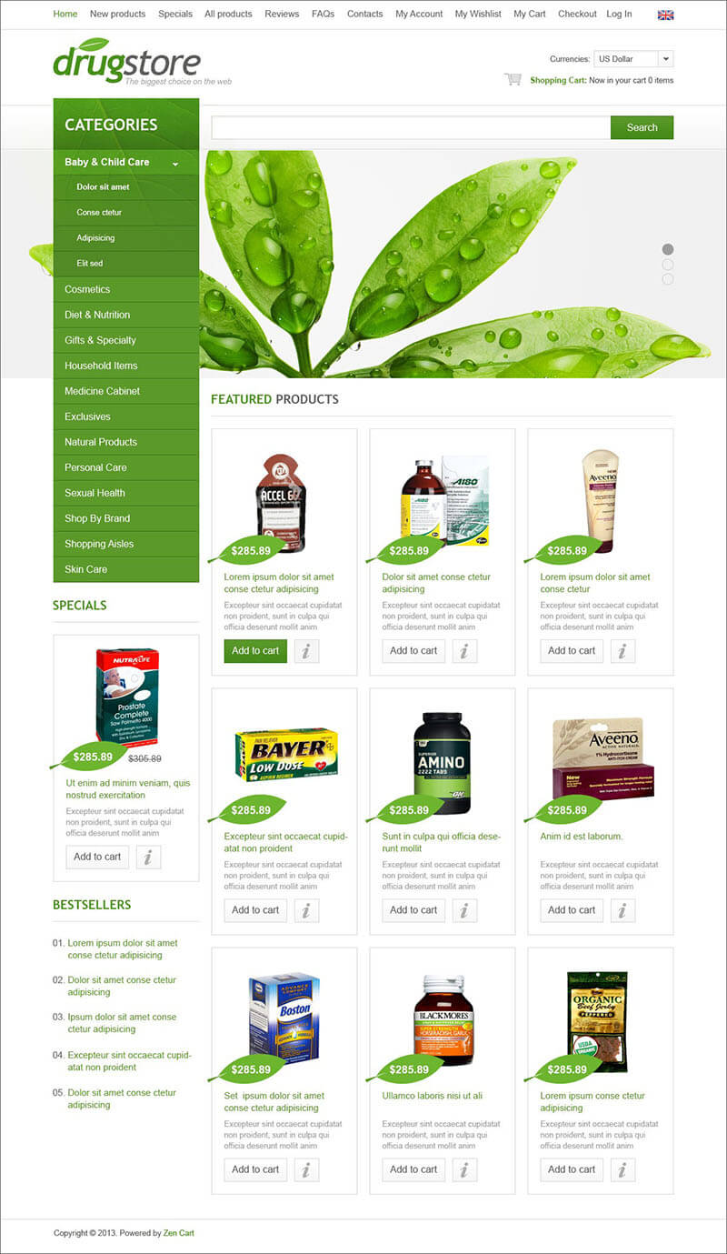 Drugstore Zen Cart Template