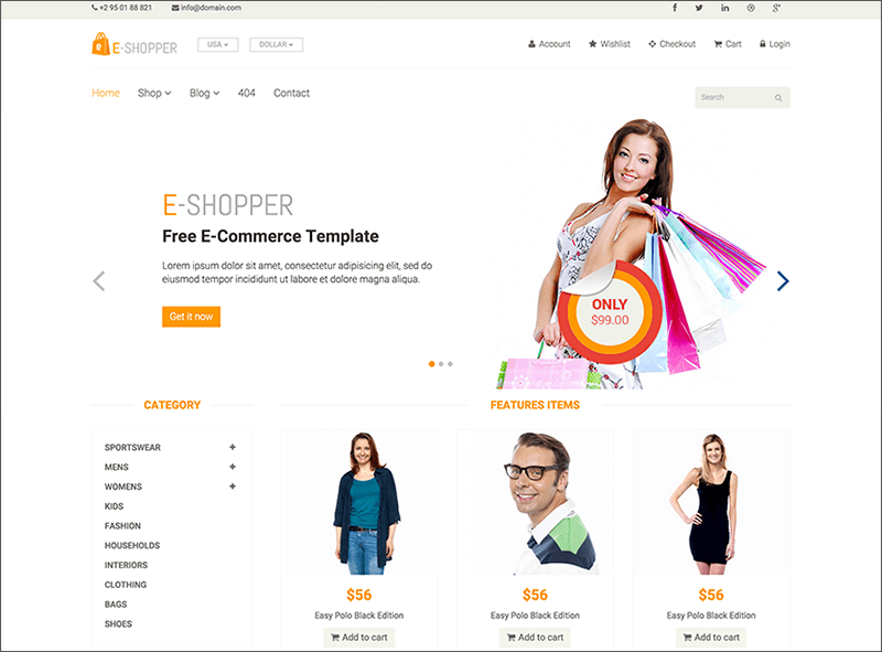 Ecommerce HTML & Bootstrap Template