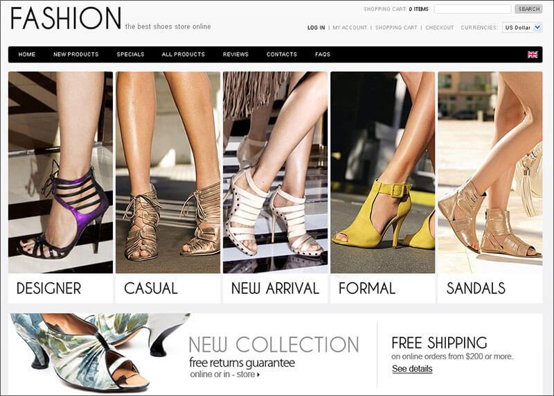 Fashion Shoes Zen Cart Template