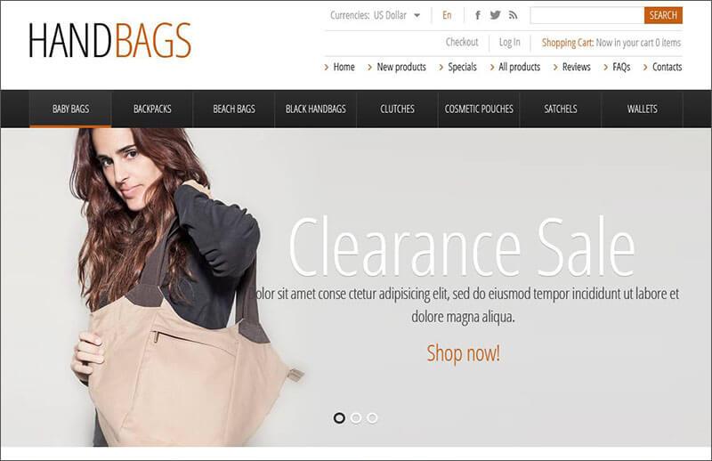 Fashionable Handbags Zen Cart Template