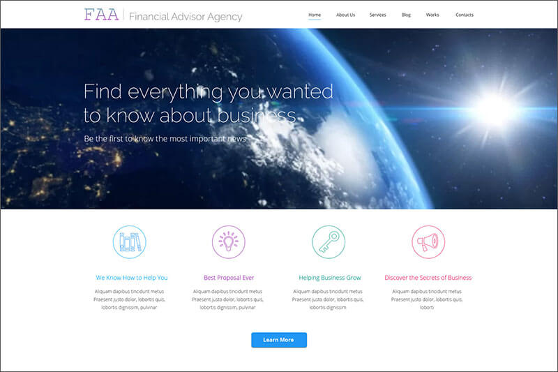Financial Planning WordPress Template