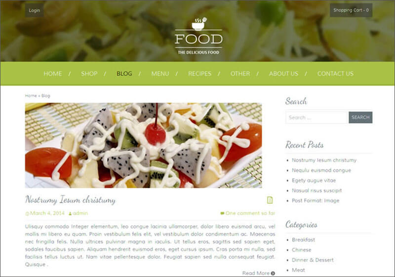 Food Blog WordPress Template
