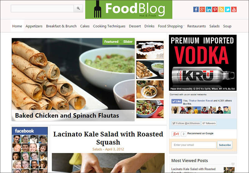 Food & Recipe Blog WP Theme