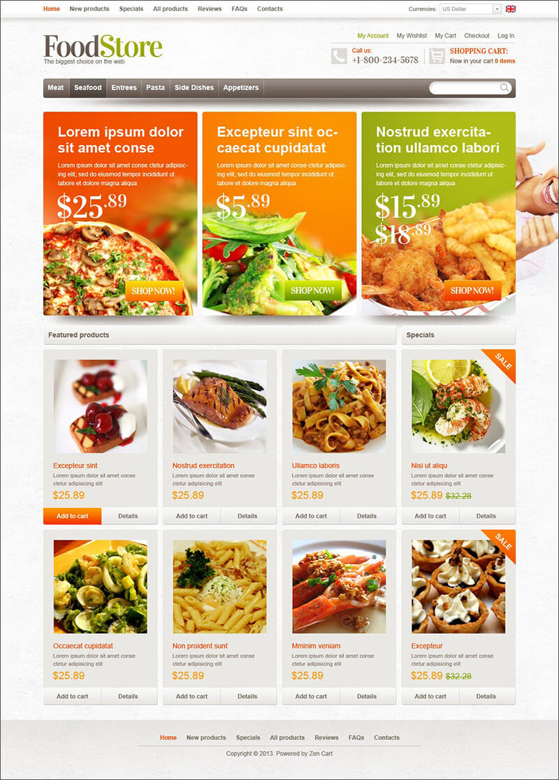 Food Store Zen Cart Theme