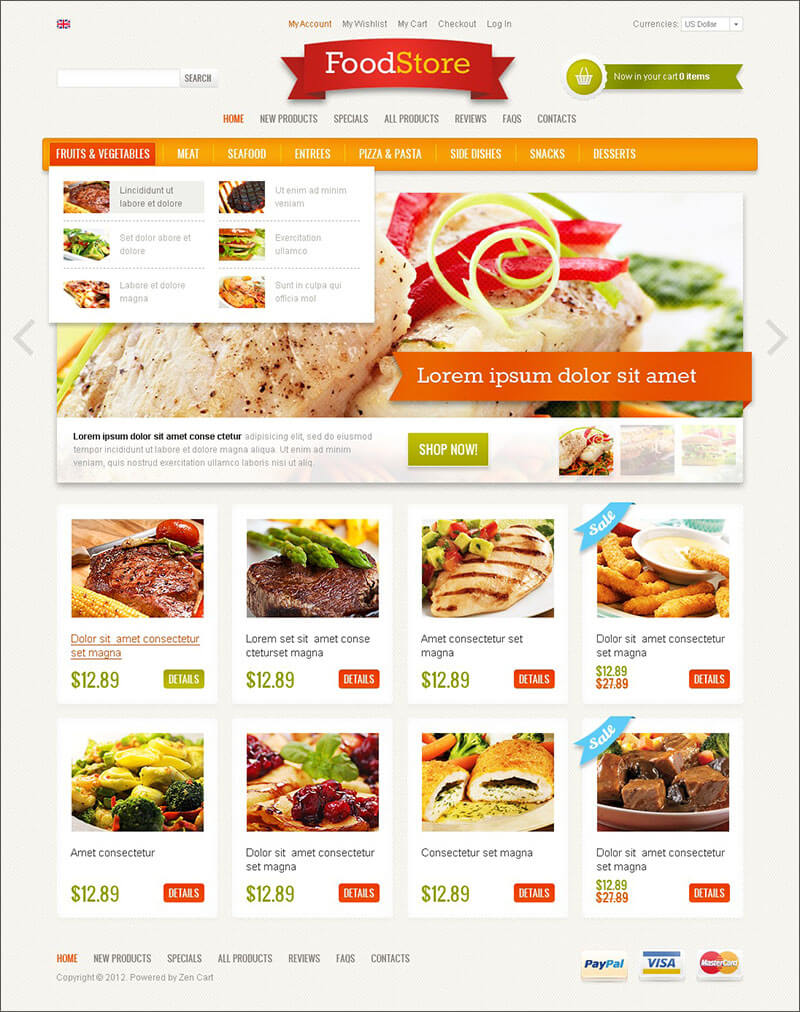 Food Store ZenCart Template