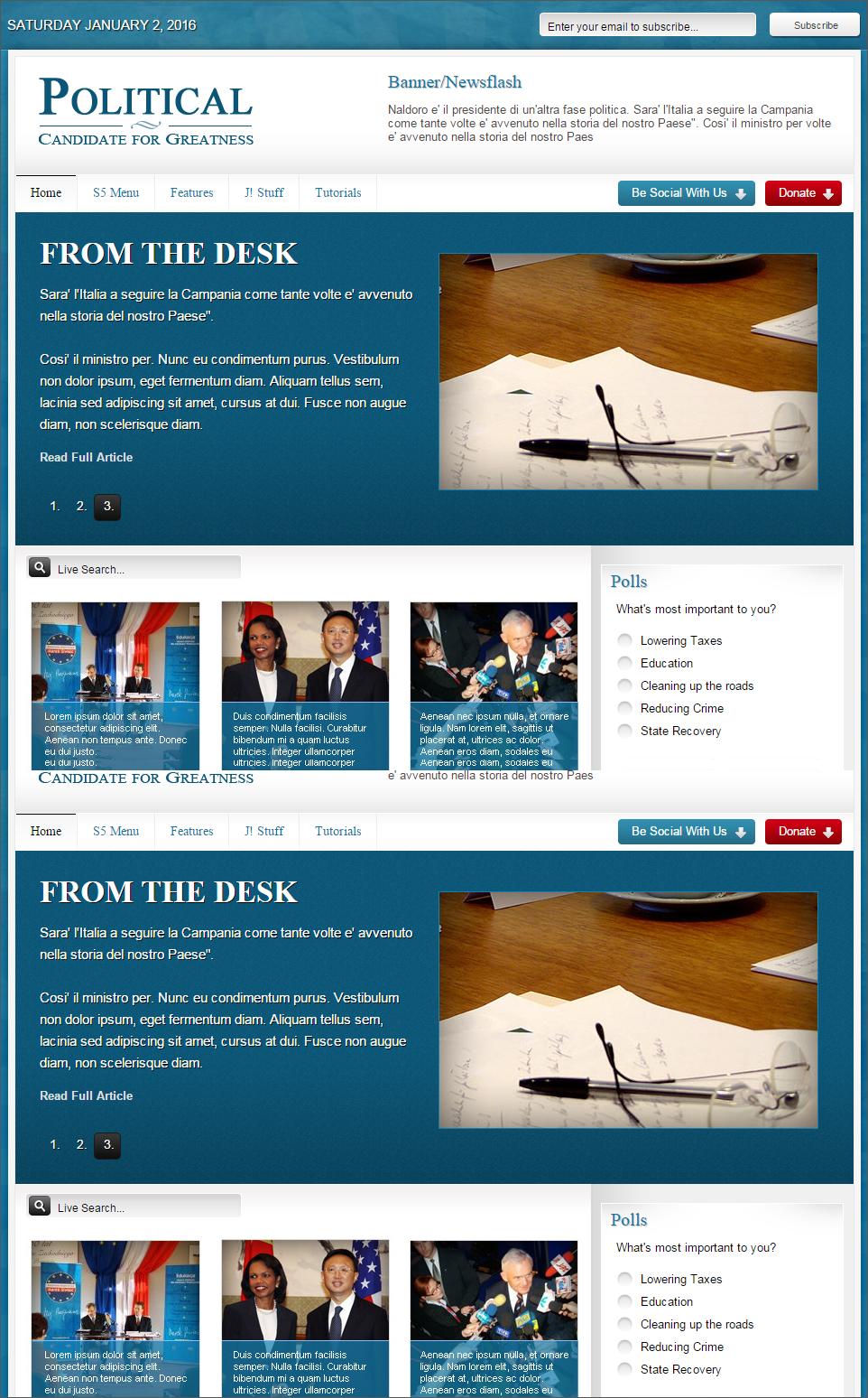 Joomla Template For Politics