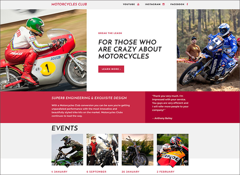 Motor Sports Responsive Landing Page Template