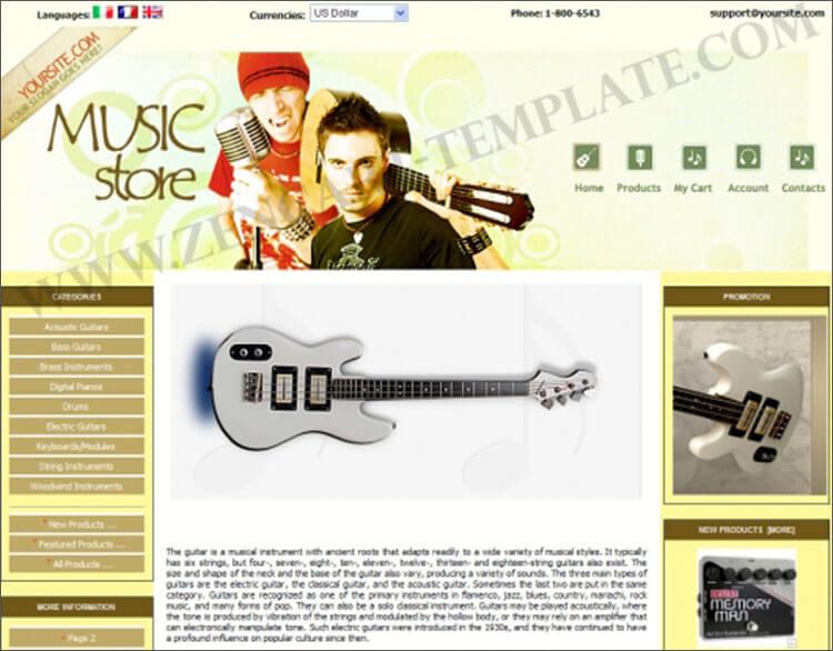 Music Equipment Shop Zen Cart Template