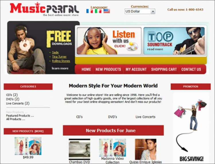 Music Portal Zen Cart Template