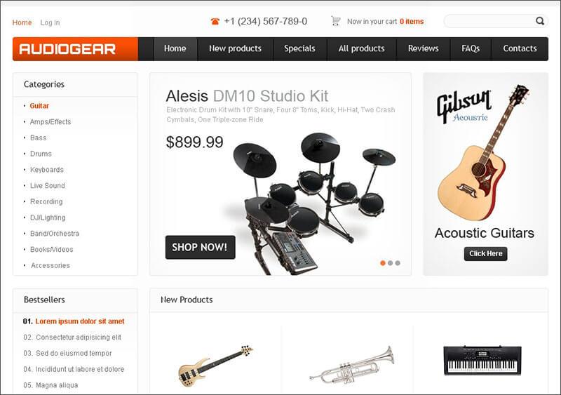 Musical Instruments Store Zen Cart Template