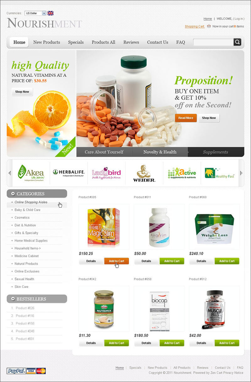 Nutrition Store Zen Cart Template