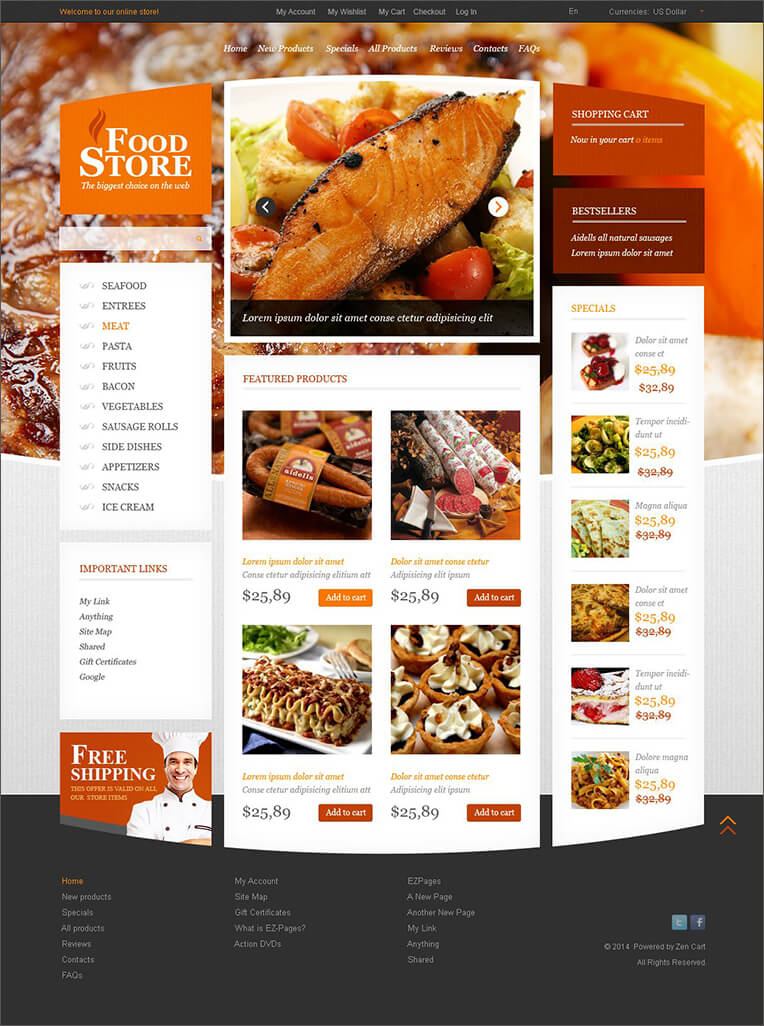 Online Food Store Zen Cart Template