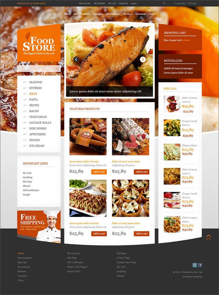 Online Food Store Zen Cart Template