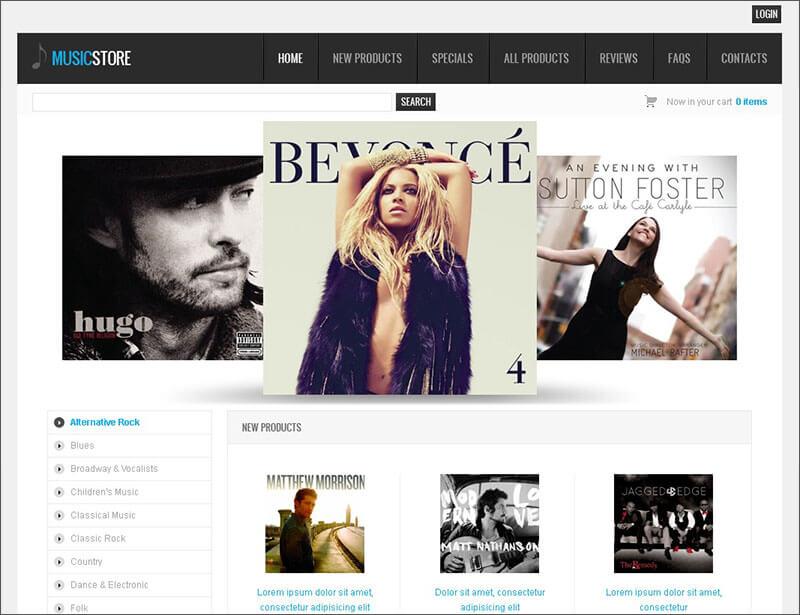 Online Music Store Zen Cart Template