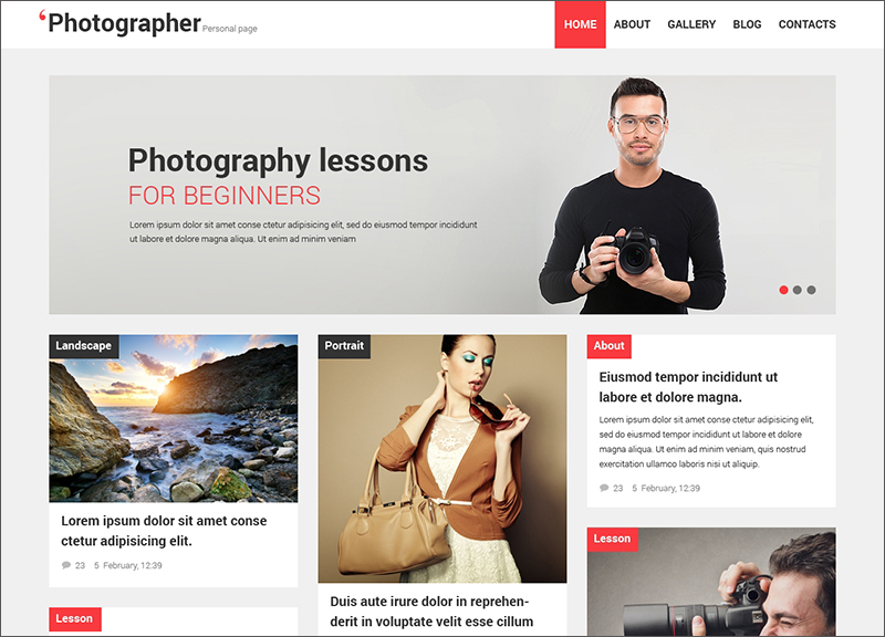Photographer Portfolio & Blog Theme