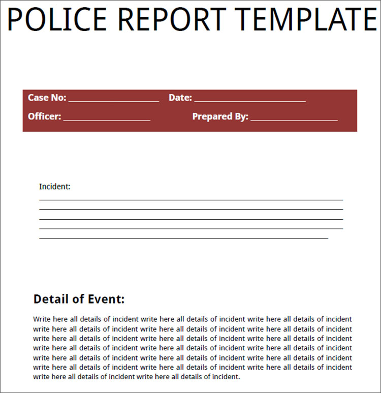 Police Report Template PDF