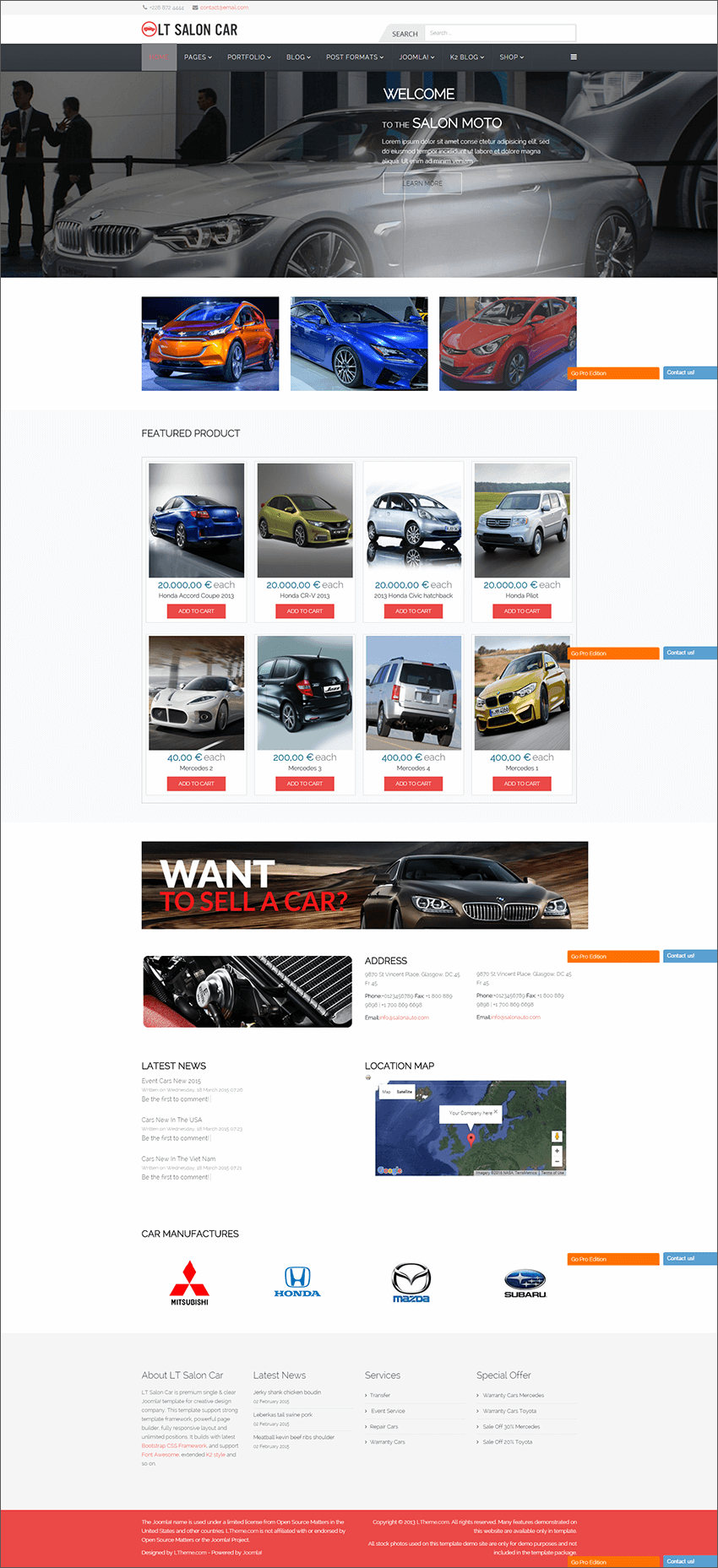 Premium Car Dealer Joomla Template