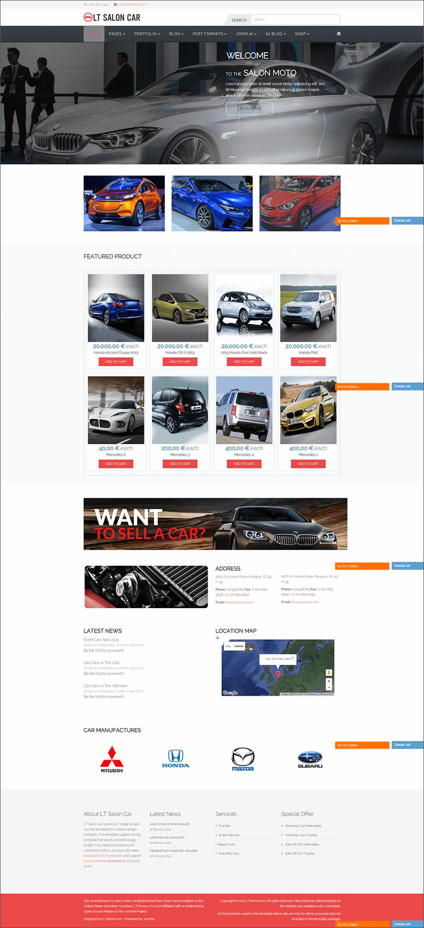 Premium Car Dealer Joomla Template
