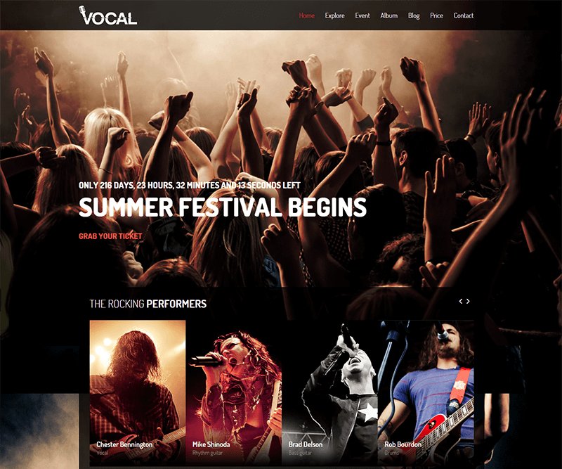 Responsive Events & Music Blog Template