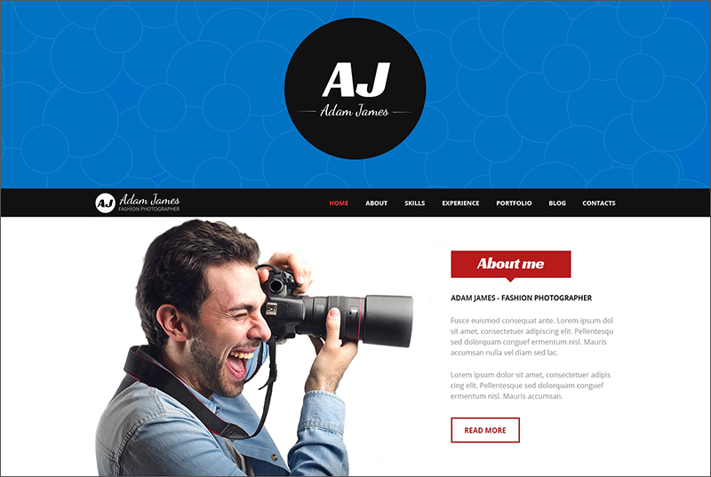 Responsive Photographer Blogger Template