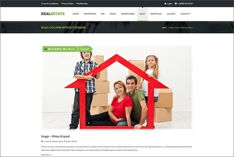 Responsive Real Estate Blog Theme