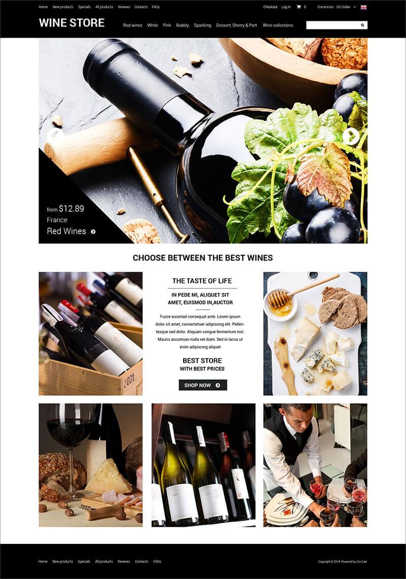 Restaurant & Wine ZenCart Template