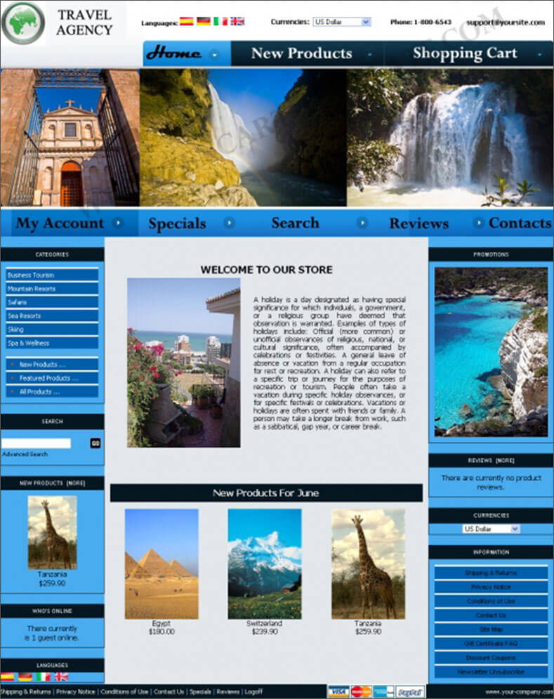 Travel Agency Online ZenCart Template