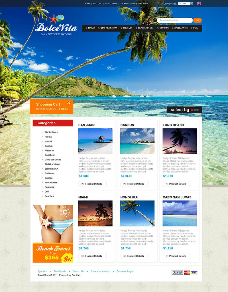 Travel Agency ZenCart Template