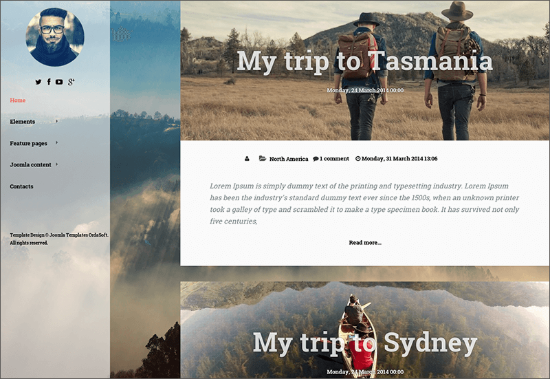 Travel Joomla Blog Template