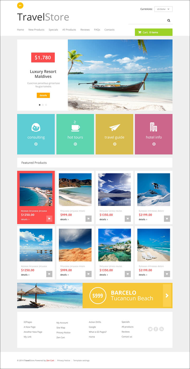 Travel Online Store ZenCart Template