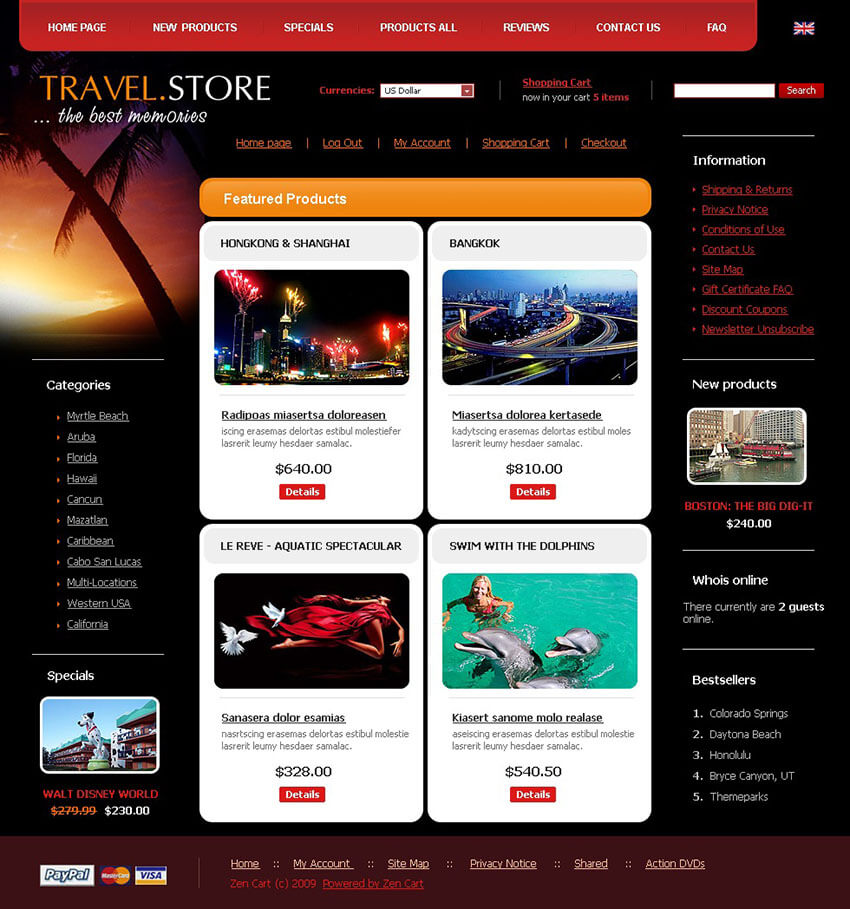 Travel Store ZenCart Theme