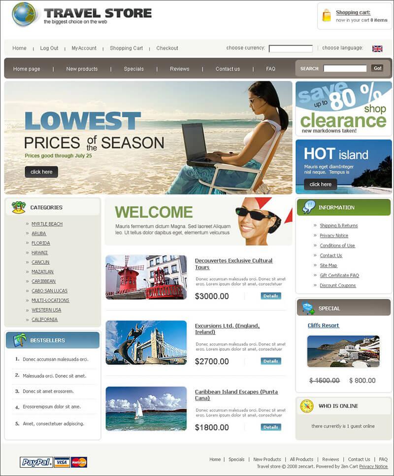 Travel ZenCart Template