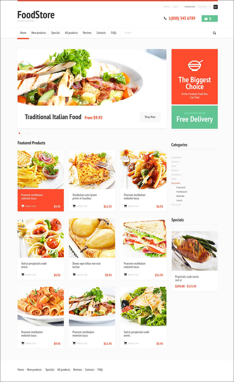 Zen Cart Restaurant Templates