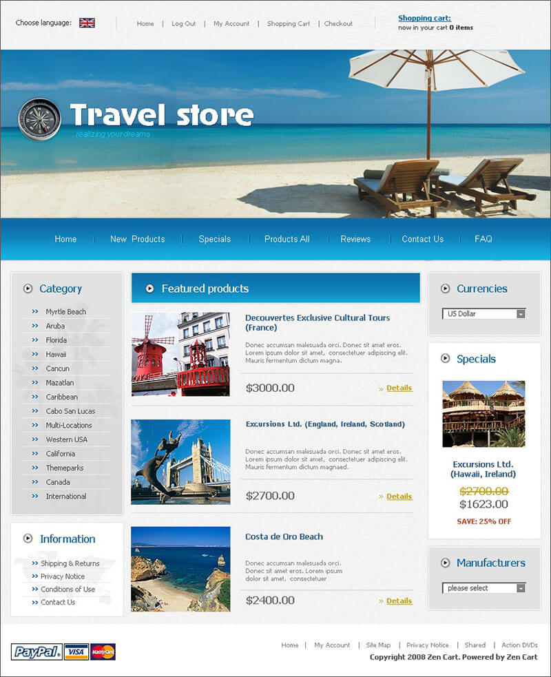ZenCart Travel Store Template