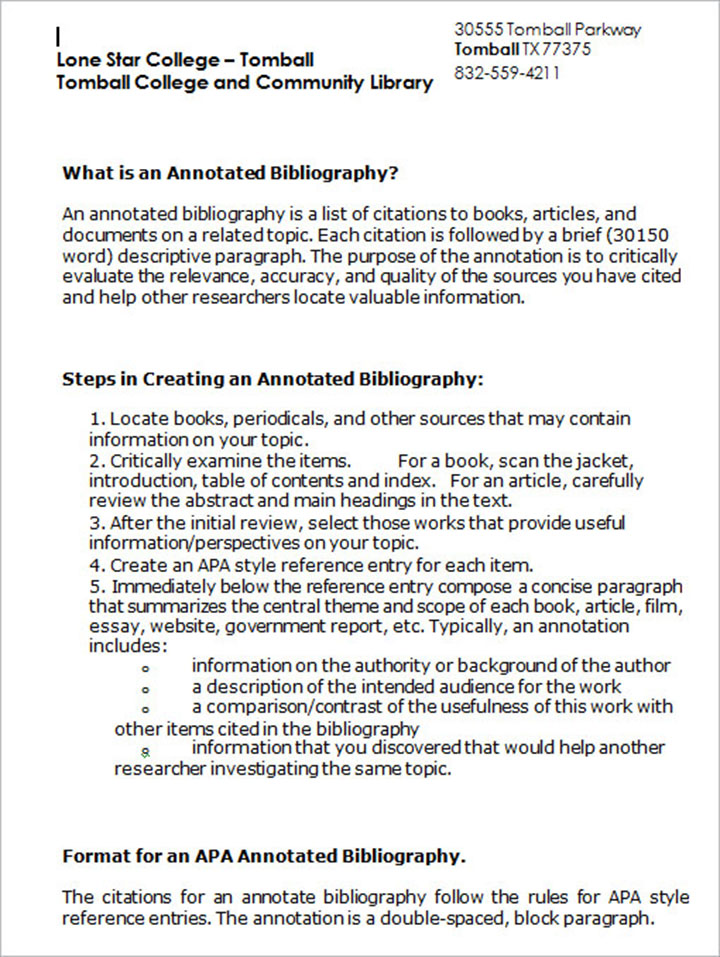 Annotated Biblography Microsoft Word