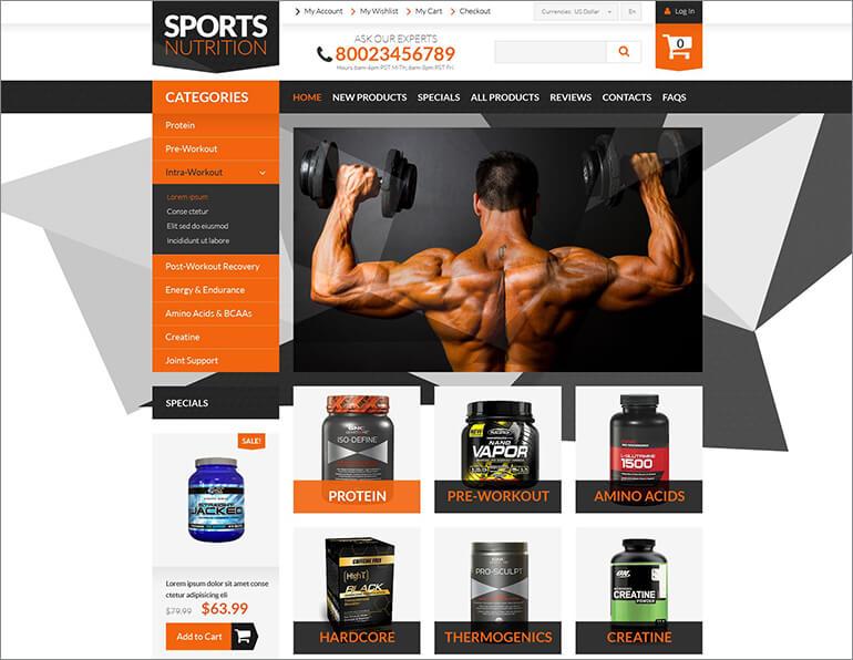 Bodybuilding Supplements ZenCart Template