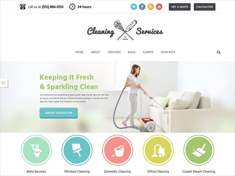 Cleaning Company Maid & Janitorial Service Theme