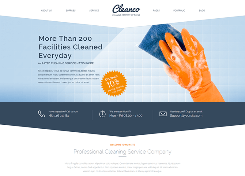 Cleaning Company WP Template
