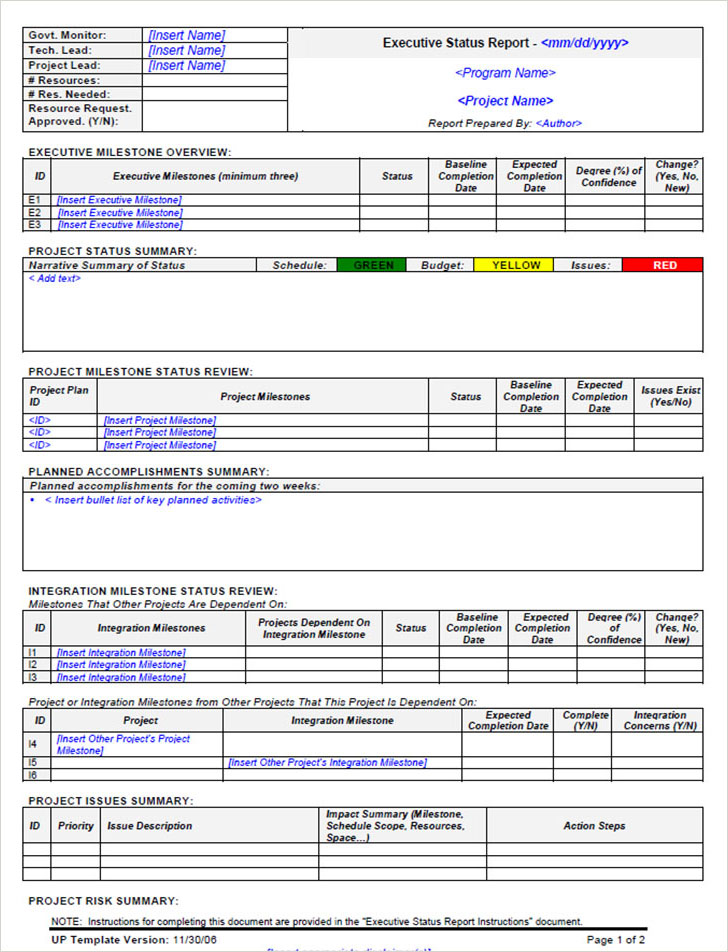 Status Report Template Executive Weekly Status Report Template