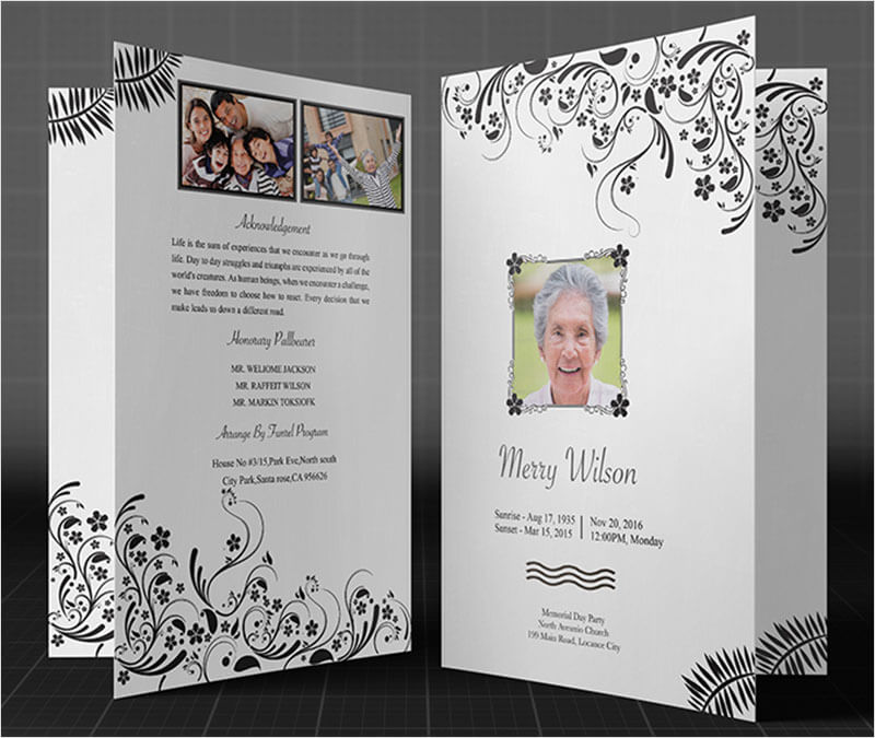 Funeral Program Black U0026 White Template ...  Funeral Template Free
