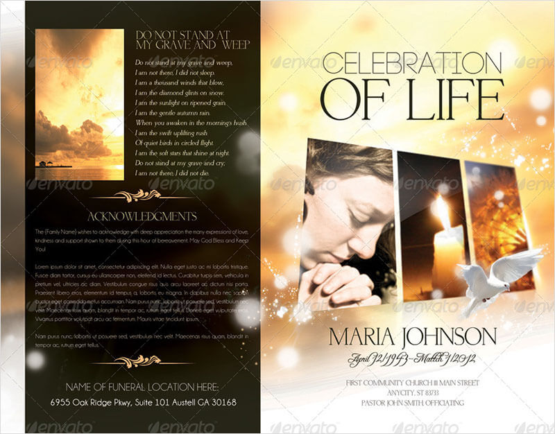 Funeral Program Brochure Psd Template