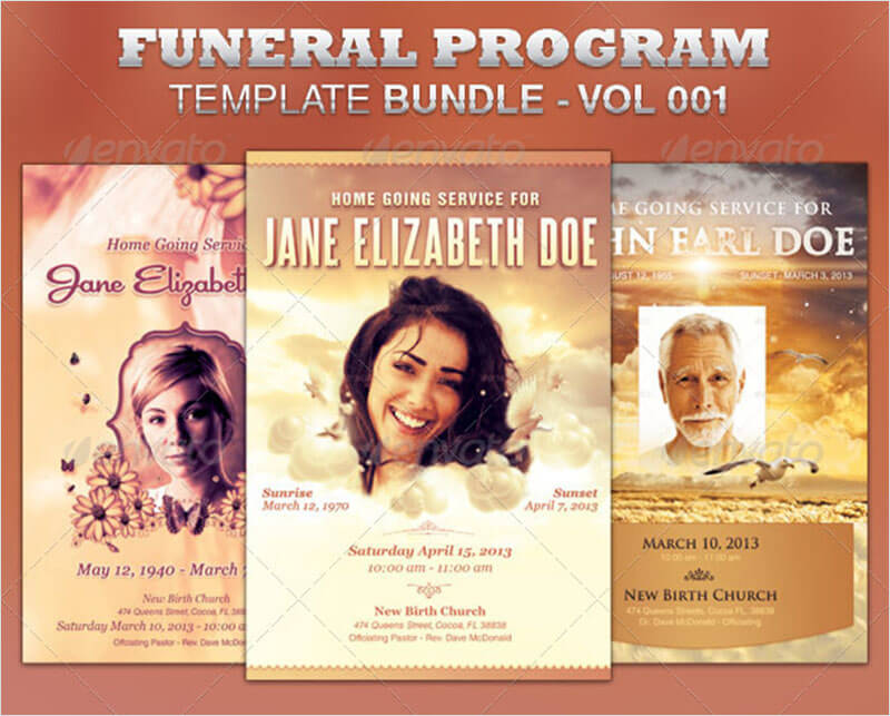 Funeral Program Template Bundle ...  Funeral Flyer Template