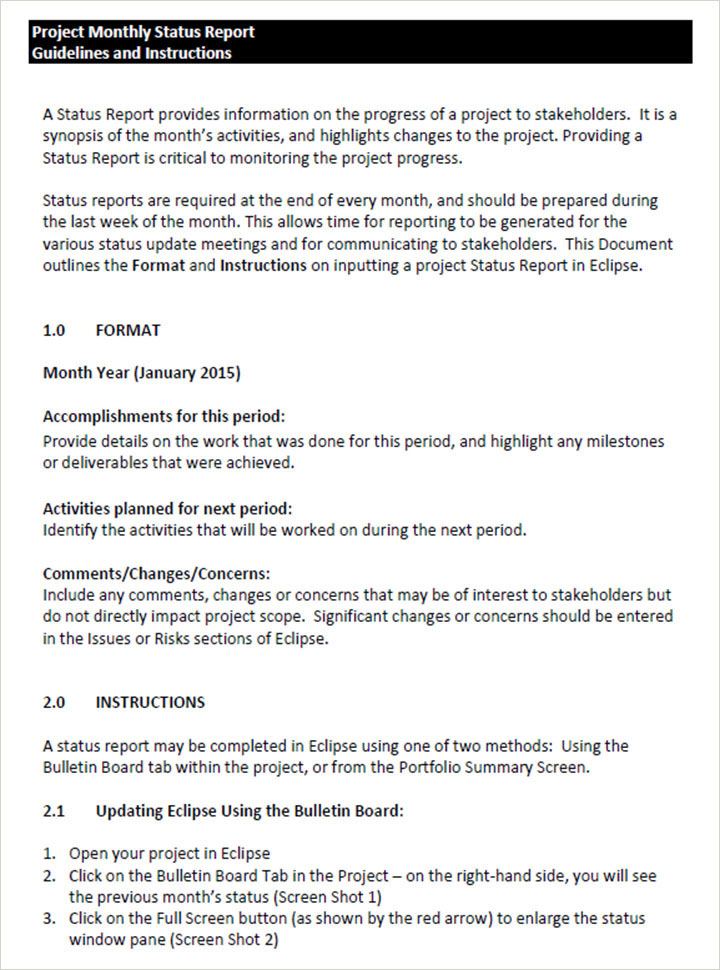 Guidelines Monthly Status Report