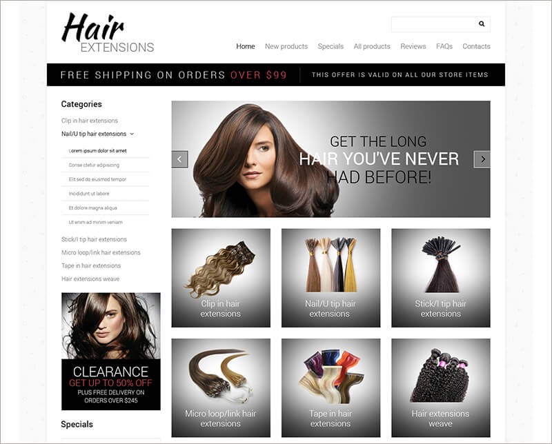 Hair Salon Zen Cart Template