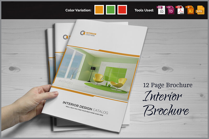 21 interior exterior brochure templates themes for Indesign interior