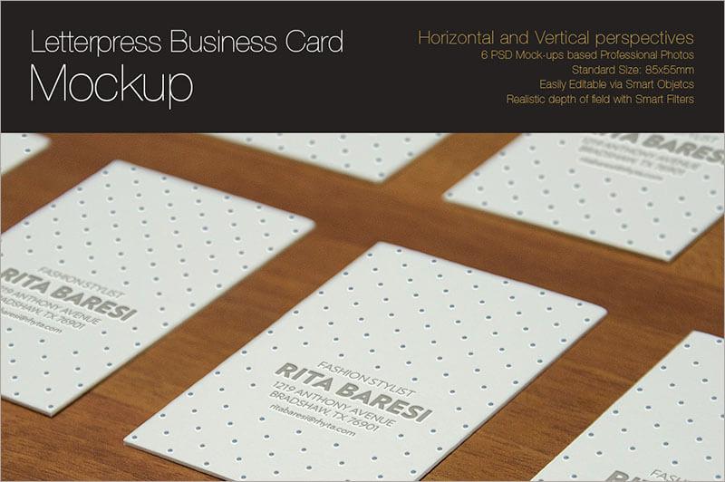 Letterpress Business Card Mock up