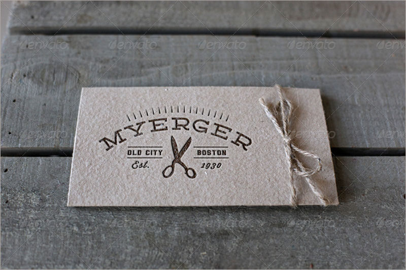 Letterpress Business Cards With Label Mockup