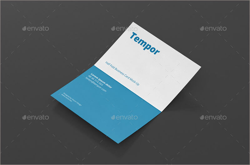 Letterpress Folded Business Card Mock up