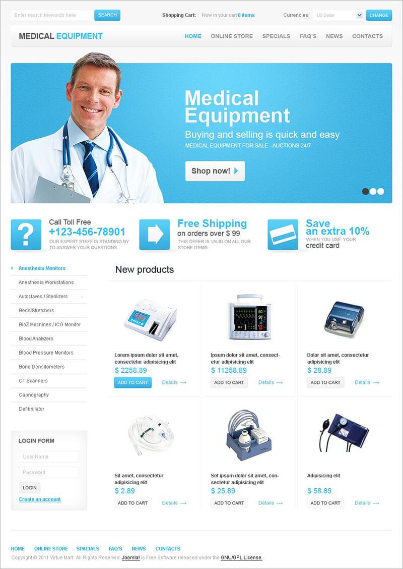 Medical Equipment VirtueMart Template
